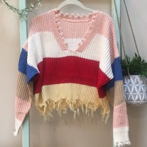 Sweaters - NWT Cropped V Neck Frayed Sweater Ripped Hem